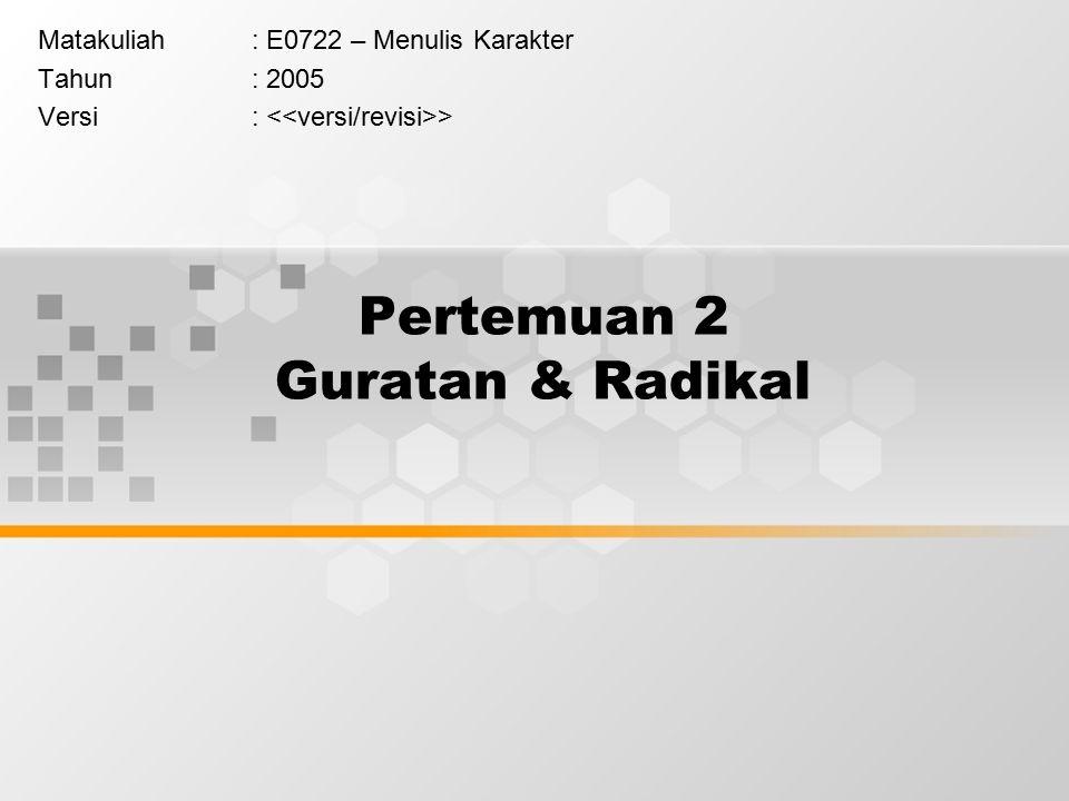 Pertemuan 2 Guratan & Radikal Matakuliah: E0722 – Menulis Karakter Tahun: 2005 Versi: >