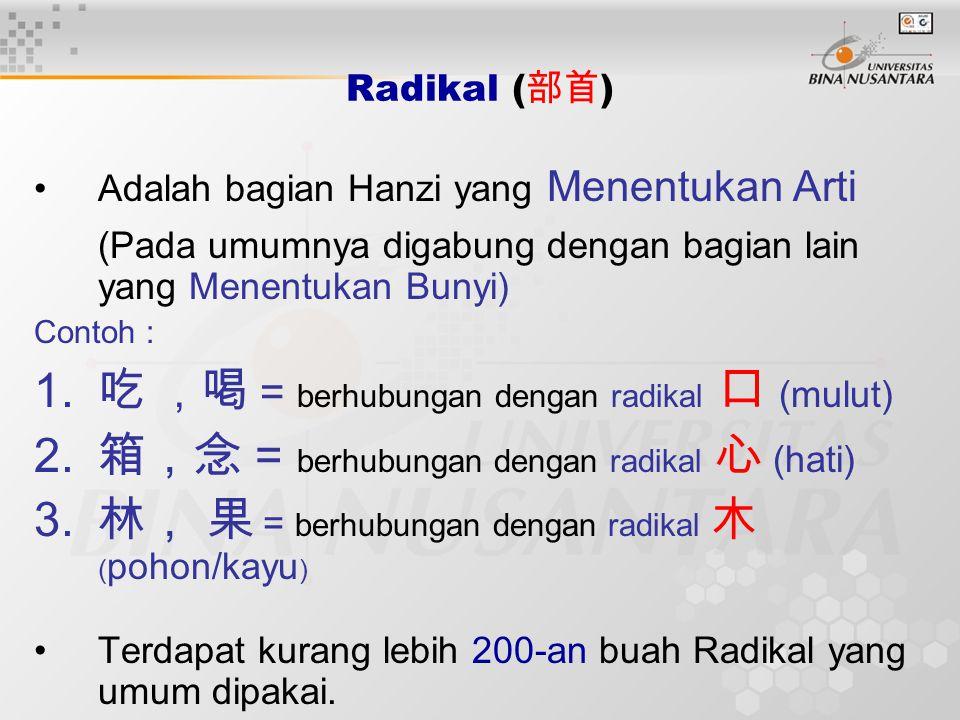 Radikal ( 部首 ) Adalah bagian Hanzi yang Menentukan Arti (Pada umumnya digabung dengan bagian lain yang Menentukan Bunyi) Contoh : 1. 吃 , 喝 = berhubung