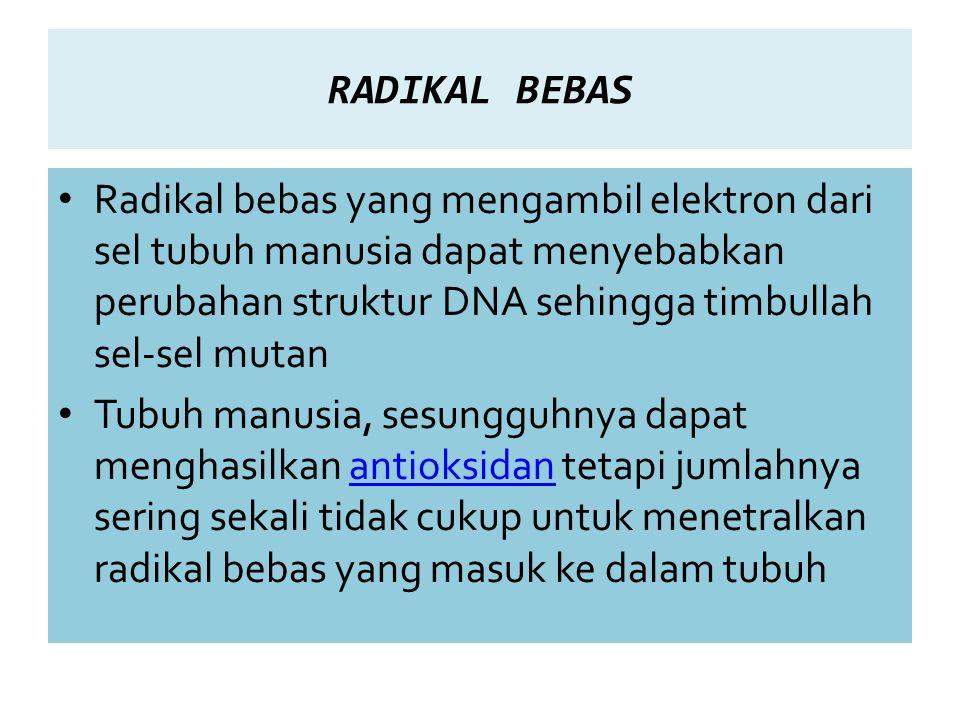 RADIKAL BEBAS Radikal bebas yang mengambil elektron dari sel tubuh manusia dapat menyebabkan perubahan struktur DNA sehingga timbullah sel-sel mutan Tubuh manusia, sesungguhnya dapat menghasilkan antioksidan tetapi jumlahnya sering sekali tidak cukup untuk menetralkan radikal bebas yang masuk ke dalam tubuhantioksidan