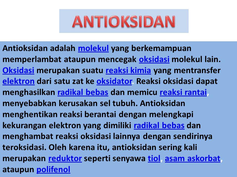Antioksidan adalah molekul yang berkemampuan memperlambat ataupun mencegak oksidasi molekul lain.