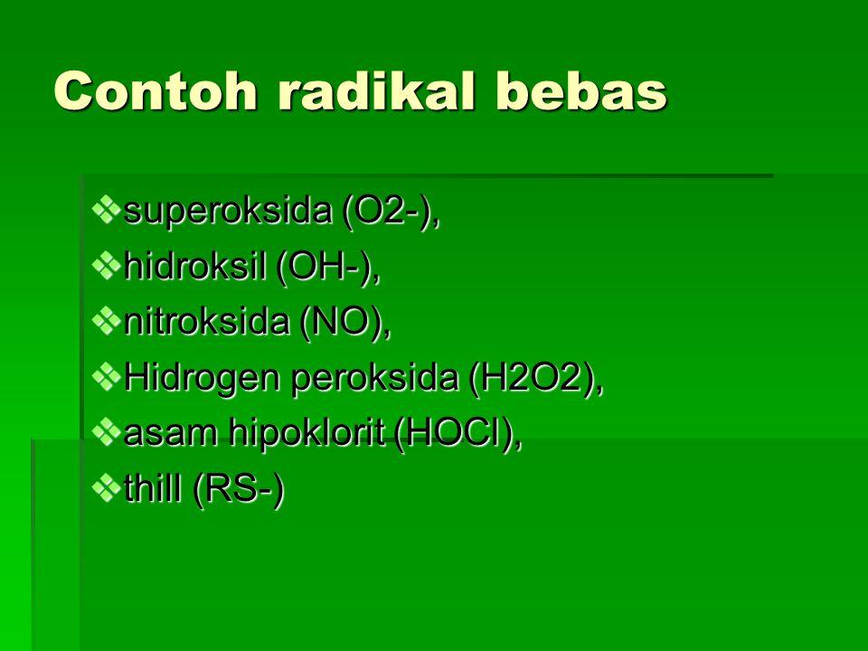 Contoh radikal bebas  superoksida (O2-),  hidroksil (OH-),  nitroksida (NO),  Hidrogen peroksida (H2O2),  asam hipoklorit (HOCl),  thill (RS-)