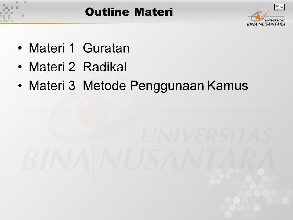 Outline Materi Materi 1 Guratan Materi 2 Radikal Materi 3 Metode Penggunaan Kamus