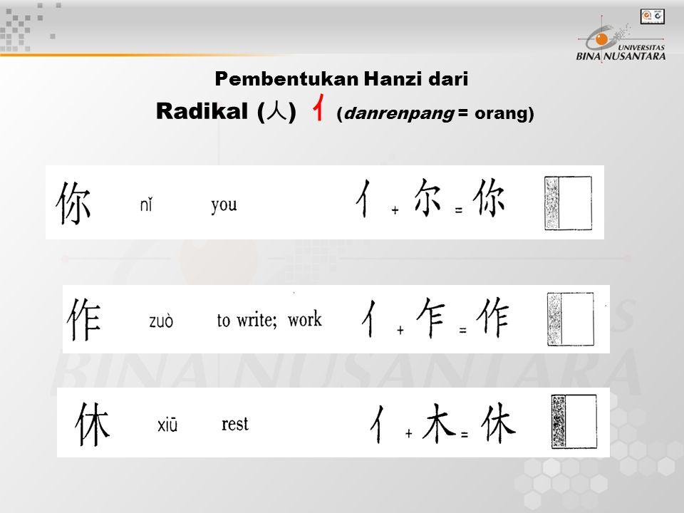 Pembentukan Hanzi dari Radikal ( 人 ) 亻 (danrenpang = orang)