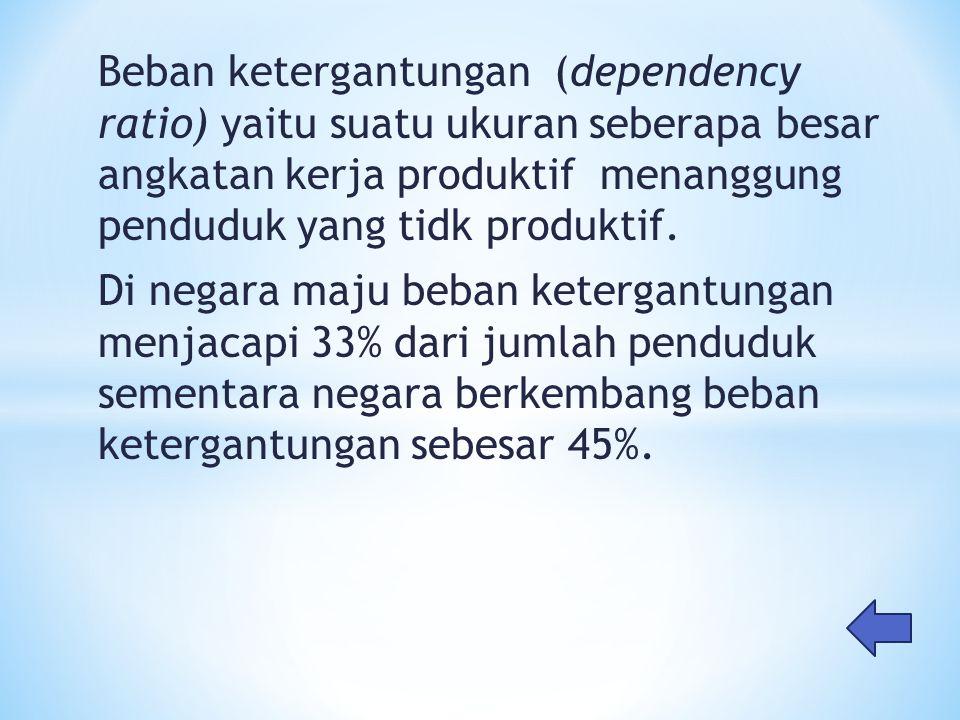 Beban ketergantungan (dependency ratio) yaitu suatu ukuran seberapa besar angkatan kerja produktif menanggung penduduk yang tidk produktif. Di negara