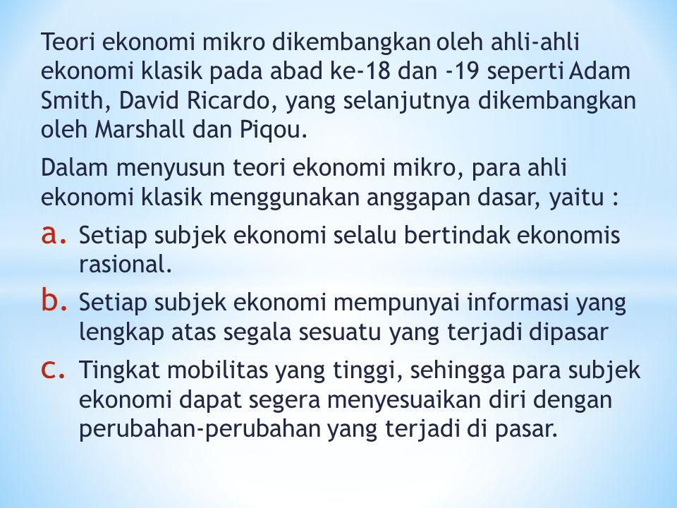 Teori ekonomi mikro dikembangkan oleh ahli-ahli ekonomi klasik pada abad ke-18 dan -19 seperti Adam Smith, David Ricardo, yang selanjutnya dikembangka