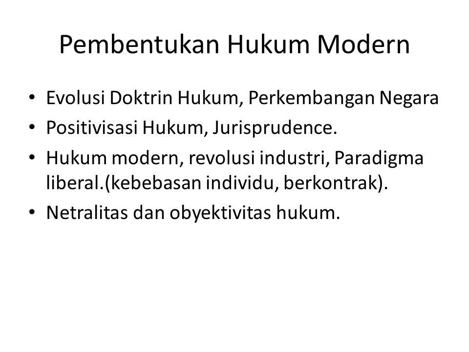 Pembentukan Hukum Modern Evolusi Doktrin Hukum, Perkembangan Negara Positivisasi Hukum, Jurisprudence. Hukum modern, revolusi industri, Paradigma libe