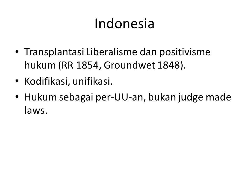Indonesia Transplantasi Liberalisme dan positivisme hukum (RR 1854, Groundwet 1848). Kodifikasi, unifikasi. Hukum sebagai per-UU-an, bukan judge made