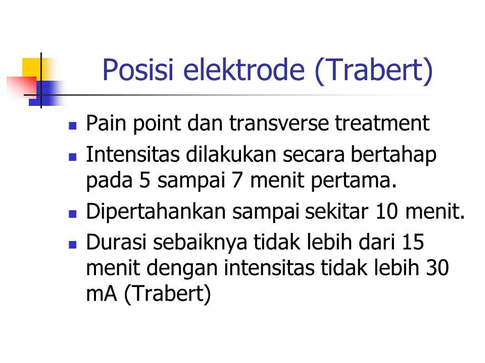 Posisi elektrode (Trabert) Pain point dan transverse treatment Intensitas dilakukan secara bertahap pada 5 sampai 7 menit pertama. Dipertahankan sampa