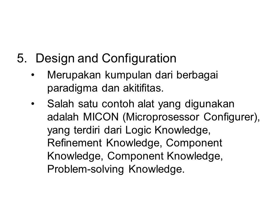 5.Design and Configuration Merupakan kumpulan dari berbagai paradigma dan akitifitas.