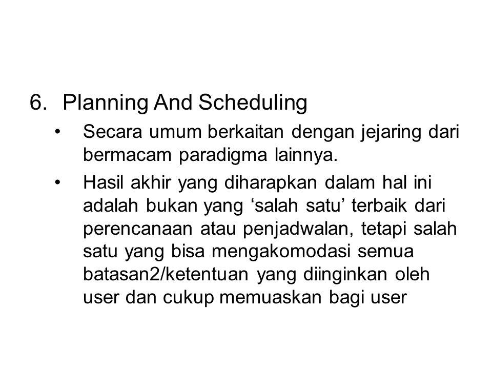 6.Planning And Scheduling Secara umum berkaitan dengan jejaring dari bermacam paradigma lainnya.