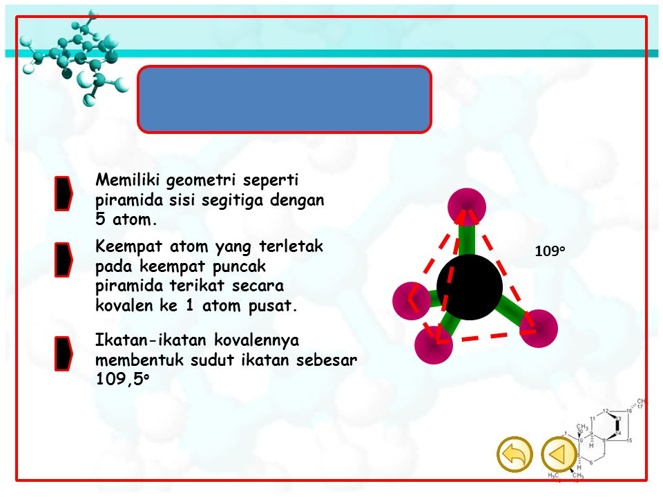 Molekul Tetrahedron Memiliki geometri seperti piramida sisi segitiga dengan 5 atom. Keempat atom yang terletak pada keempat puncak piramida terikat se