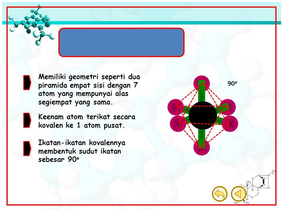 Molekul Oktahedron Memiliki geometri seperti dua piramida empat sisi dengan 7 atom yang mempunyai alas segiempat yang sama. Keenam atom terikat secara
