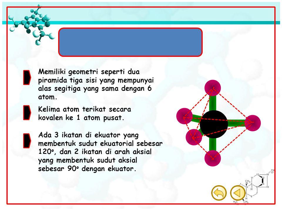 Molekul Bipiramida Trigonal Memiliki geometri seperti dua piramida tiga sisi yang mempunyai alas segitiga yang sama dengan 6 atom. Kelima atom terikat