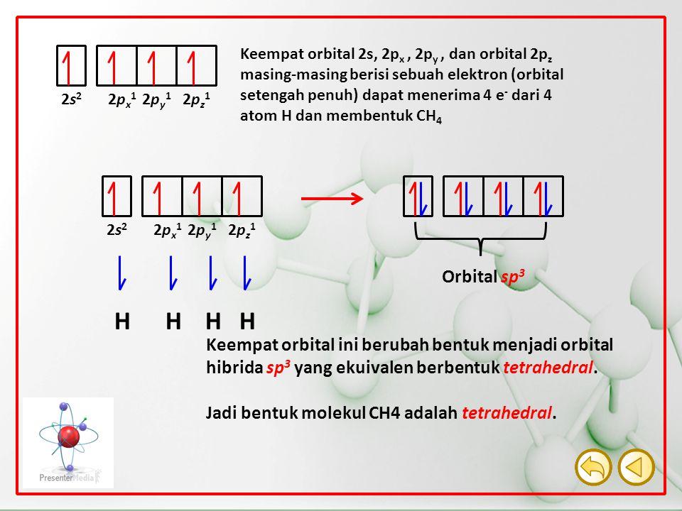 2px12px1 2py12py1 2pz12pz1 2s22s2 Keempat orbital 2s, 2p x, 2p y, dan orbital 2p z masing-masing berisi sebuah elektron (orbital setengah penuh) dapat