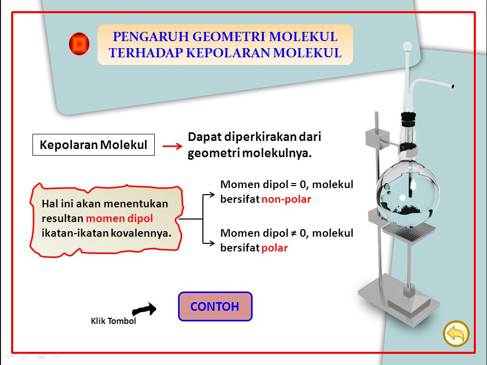 Kepolaran Molekul Dapat diperkirakan dari geometri molekulnya. Hal ini akan menentukan resultan momen dipol ikatan-ikatan kovalennya. Momen dipol = 0,