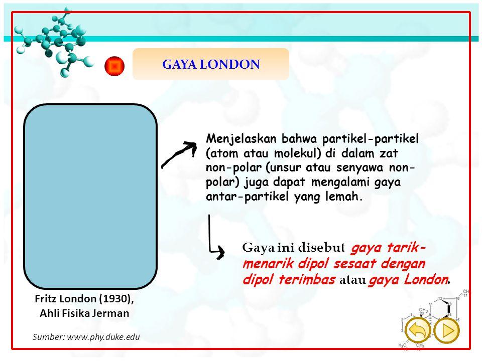 GAYA LONDON Fritz London (1930), Ahli Fisika Jerman Menjelaskan bahwa partikel-partikel (atom atau molekul) di dalam zat non-polar (unsur atau senyawa