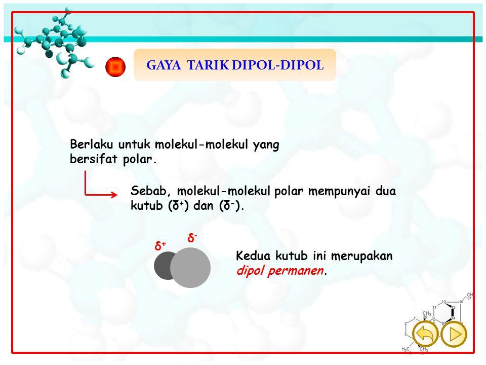 GAYA TARIK DIPOL-DIPOL δ+δ+ δ-δ- Berlaku untuk molekul-molekul yang bersifat polar. Sebab, molekul-molekul polar mempunyai dua kutub (δ + ) dan (δ - )