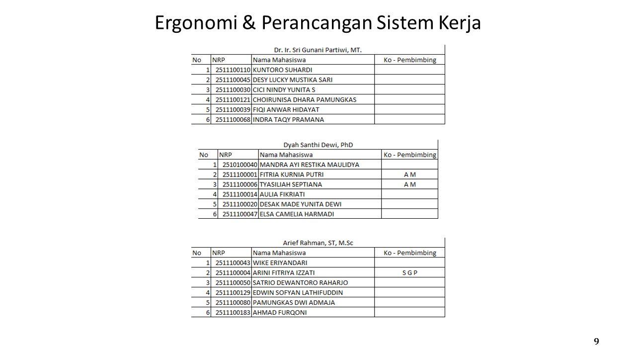 Ergonomi & Perancangan Sistem Kerja 9