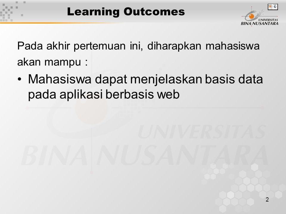 2 Learning Outcomes Pada akhir pertemuan ini, diharapkan mahasiswa akan mampu : Mahasiswa dapat menjelaskan basis data pada aplikasi berbasis web