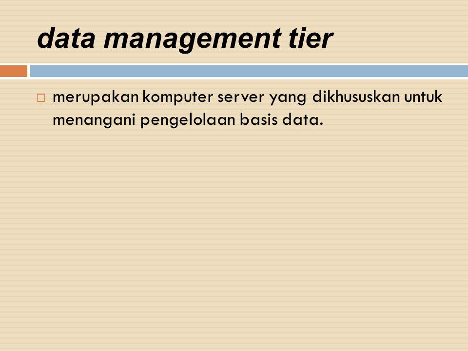 data management tier  merupakan komputer server yang dikhususkan untuk menangani pengelolaan basis data.