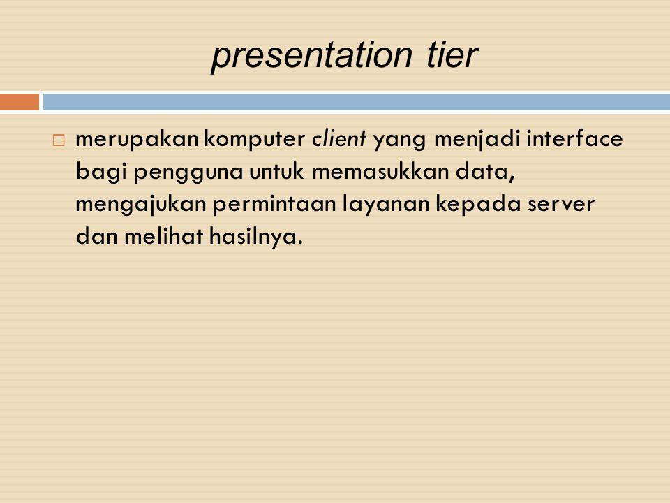 presentation tier  merupakan komputer client yang menjadi interface bagi pengguna untuk memasukkan data, mengajukan permintaan layanan kepada server
