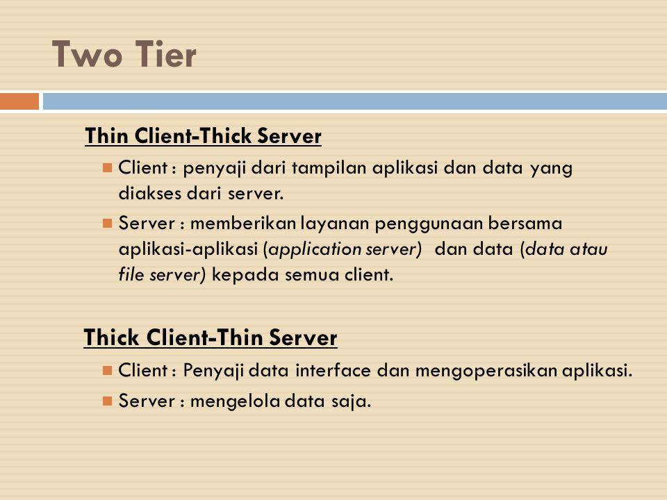 Two Tier Thin Client-Thick Server Client : penyaji dari tampilan aplikasi dan data yang diakses dari server. Server : memberikan layanan penggunaan be