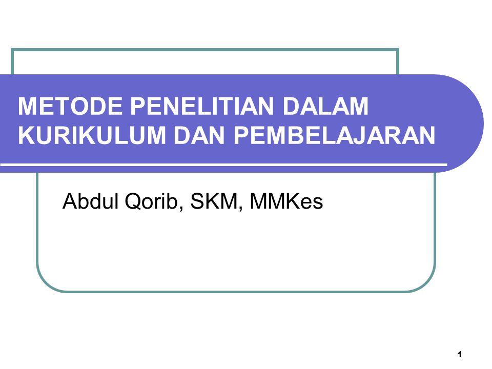 1 Abdul Qorib, SKM, MMKes METODE PENELITIAN DALAM KURIKULUM DAN PEMBELAJARAN