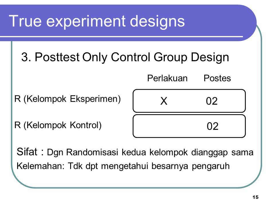 15 R (Kelompok Eksperimen) R (Kelompok Kontrol) True experiment designs 3. Posttest Only Control Group Design Perlakuan Postes X 02 Sifat : Dgn Random