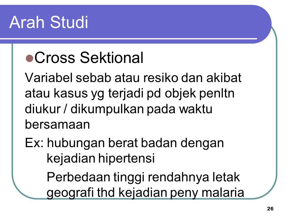 26 Arah Studi Cross Sektional Variabel sebab atau resiko dan akibat atau kasus yg terjadi pd objek penltn diukur / dikumpulkan pada waktu bersamaan Ex