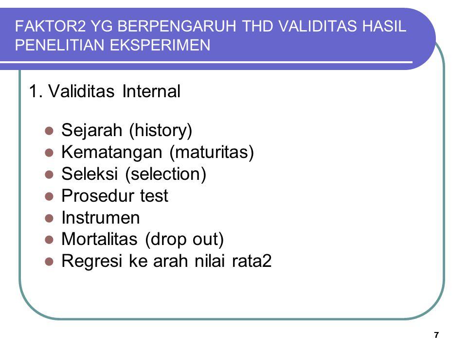7 FAKTOR2 YG BERPENGARUH THD VALIDITAS HASIL PENELITIAN EKSPERIMEN 1. Validitas Internal Sejarah (history) Kematangan (maturitas) Seleksi (selection)