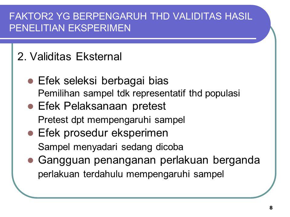 8 FAKTOR2 YG BERPENGARUH THD VALIDITAS HASIL PENELITIAN EKSPERIMEN 2. Validitas Eksternal Efek seleksi berbagai bias Pemilihan sampel tdk representati