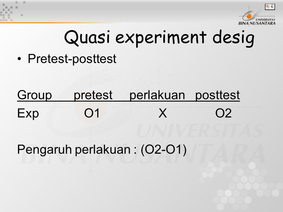 Quasi experiment desig Pretest-posttest Grouppretest perlakuan posttest Exp O1XO2 Pengaruh perlakuan : (O2-O1)