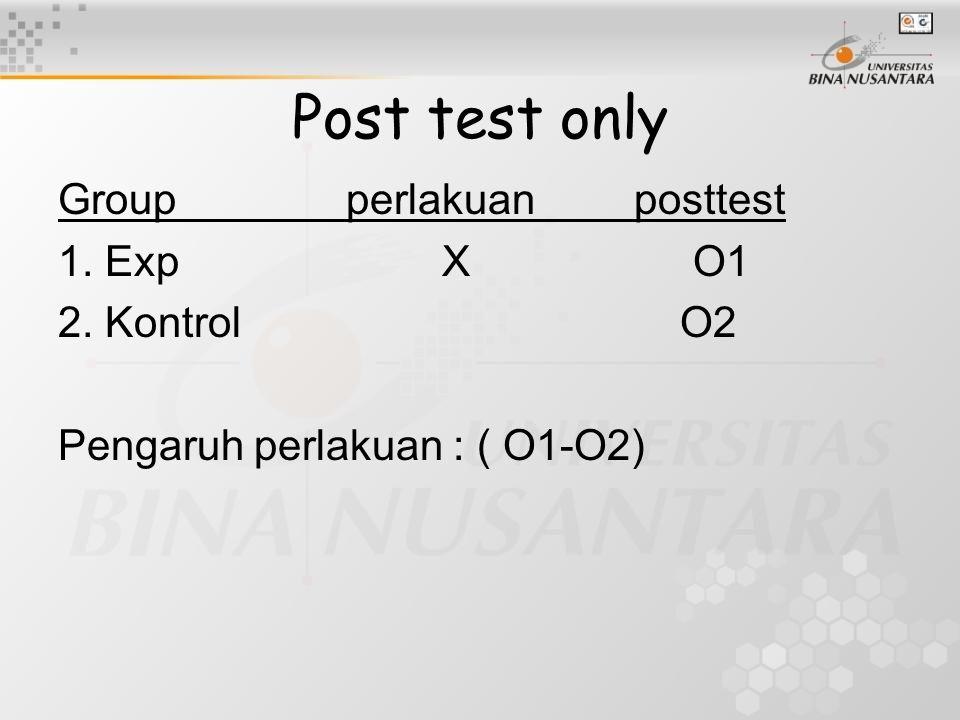 Post test only Groupperlakuanposttest 1. ExpX O1 2. Kontrol O2 Pengaruh perlakuan : ( O1-O2)