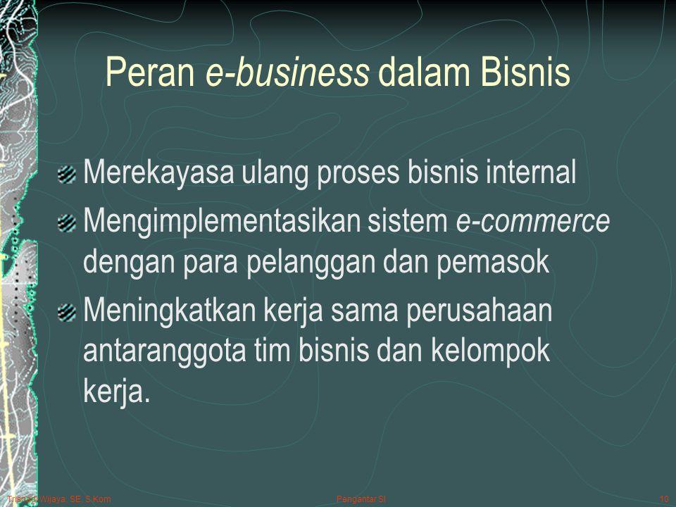 Trisnadi Wijaya, SE, S.Kom Pengantar SI10 Peran e-business dalam Bisnis Merekayasa ulang proses bisnis internal Mengimplementasikan sistem e-commerce dengan para pelanggan dan pemasok Meningkatkan kerja sama perusahaan antaranggota tim bisnis dan kelompok kerja.