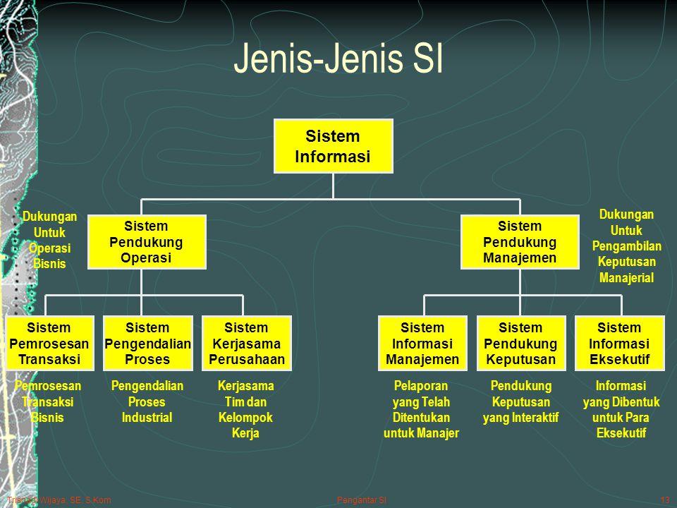Trisnadi Wijaya, SE, S.Kom Pengantar SI13 Jenis-Jenis SI Sistem Informasi Sistem Pendukung Operasi Sistem Pendukung Manajemen Sistem Pemrosesan Transaksi Sistem Pengendalian Proses Sistem Kerjasama Perusahaan Sistem Informasi Manajemen Sistem Pendukung Keputusan Sistem Informasi Eksekutif Dukungan Untuk Operasi Bisnis Dukungan Untuk Pengambilan Keputusan Manajerial Informasi yang Dibentuk untuk Para Eksekutif Pendukung Keputusan yang Interaktif Pelaporan yang Telah Ditentukan untuk Manajer Pemrosesan Transaksi Bisnis Pengendalian Proses Industrial Kerjasama Tim dan Kelompok Kerja