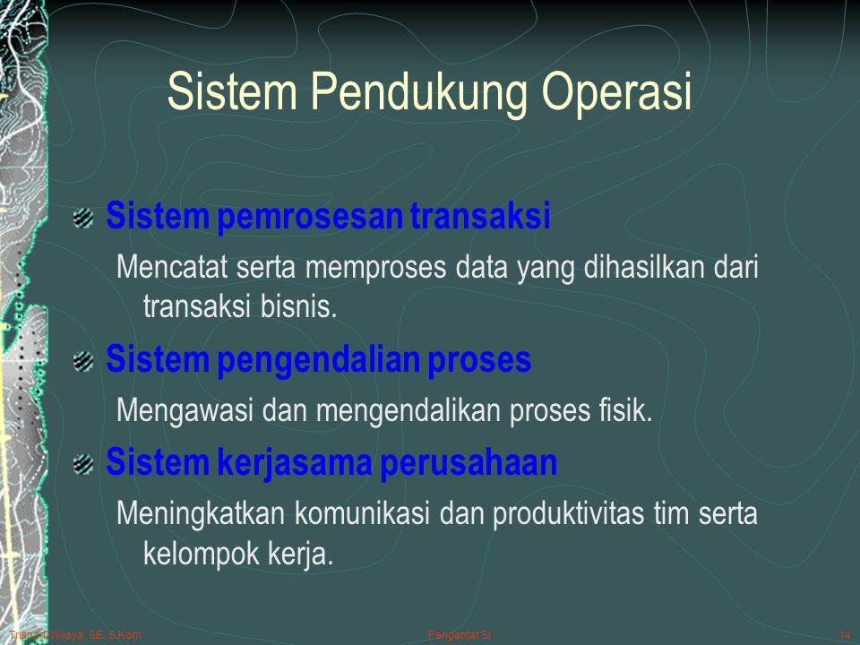 Trisnadi Wijaya, SE, S.Kom Pengantar SI14 Sistem Pendukung Operasi Sistem pemrosesan transaksi Mencatat serta memproses data yang dihasilkan dari transaksi bisnis.