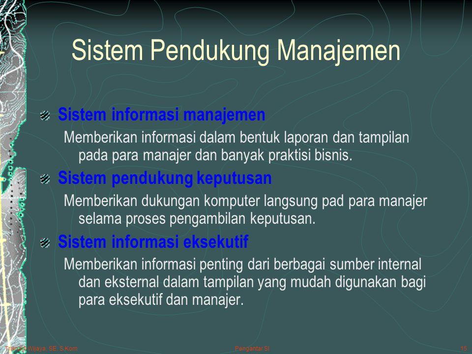 Trisnadi Wijaya, SE, S.Kom Pengantar SI15 Sistem Pendukung Manajemen Sistem informasi manajemen Memberikan informasi dalam bentuk laporan dan tampilan pada para manajer dan banyak praktisi bisnis.