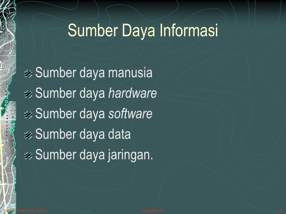 Trisnadi Wijaya, SE, S.Kom Pengantar SI18 Sumber Daya Informasi Sumber daya manusia Sumber daya hardware Sumber daya software Sumber daya data Sumber daya jaringan.