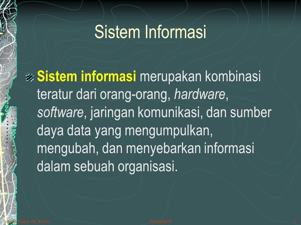 Pengantar SI2 Sistem Informasi Sistem informasi merupakan kombinasi teratur dari orang-orang, hardware, software, jaringan komunikasi, dan sumber daya data yang mengumpulkan, mengubah, dan menyebarkan informasi dalam sebuah organisasi.