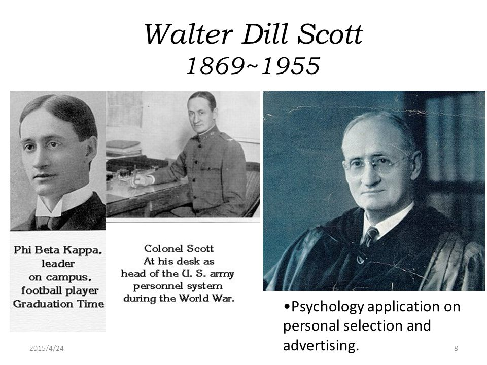 2015/4/248 Walter Dill Scott 1869~1955 Psychology application on personal selection and advertising.