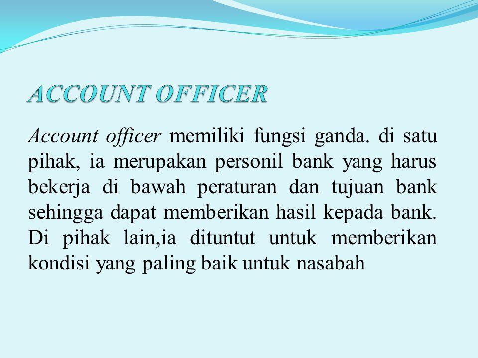Account officer memiliki fungsi ganda. di satu pihak, ia merupakan personil bank yang harus bekerja di bawah peraturan dan tujuan bank sehingga dapat
