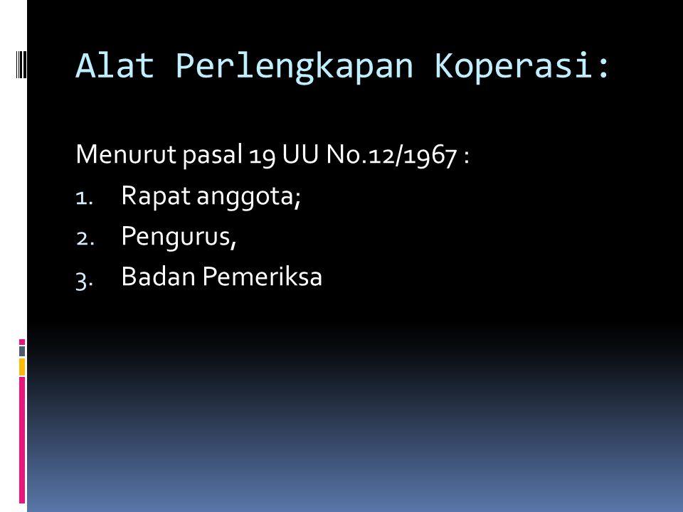 Alat Perlengkapan Koperasi: Menurut pasal 19 UU No.12/1967 : 1.