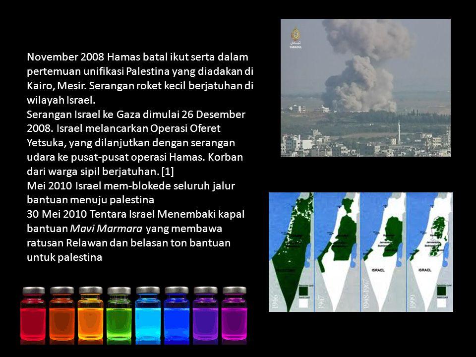 November 2008 Hamas batal ikut serta dalam pertemuan unifikasi Palestina yang diadakan di Kairo, Mesir.
