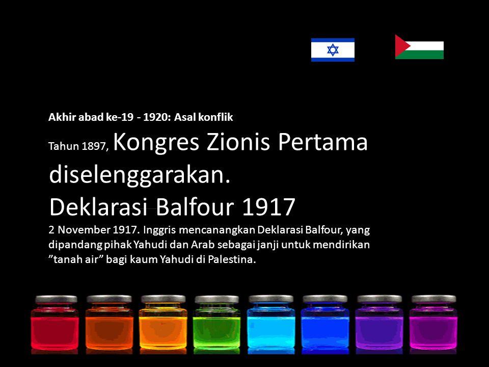 Akhir abad ke-19 - 1920: Asal konflik Tahun 1897, Kongres Zionis Pertama diselenggarakan.