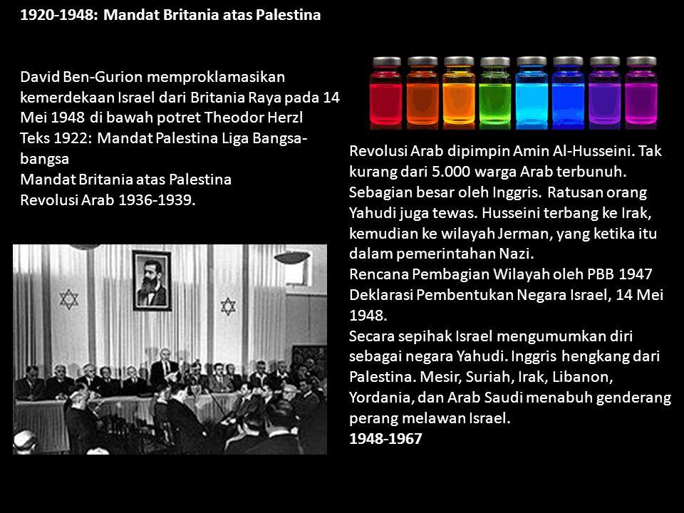 1920-1948: Mandat Britania atas Palestina David Ben-Gurion memproklamasikan kemerdekaan Israel dari Britania Raya pada 14 Mei 1948 di bawah potret Theodor Herzl Teks 1922: Mandat Palestina Liga Bangsa- bangsa Mandat Britania atas Palestina Revolusi Arab 1936-1939.