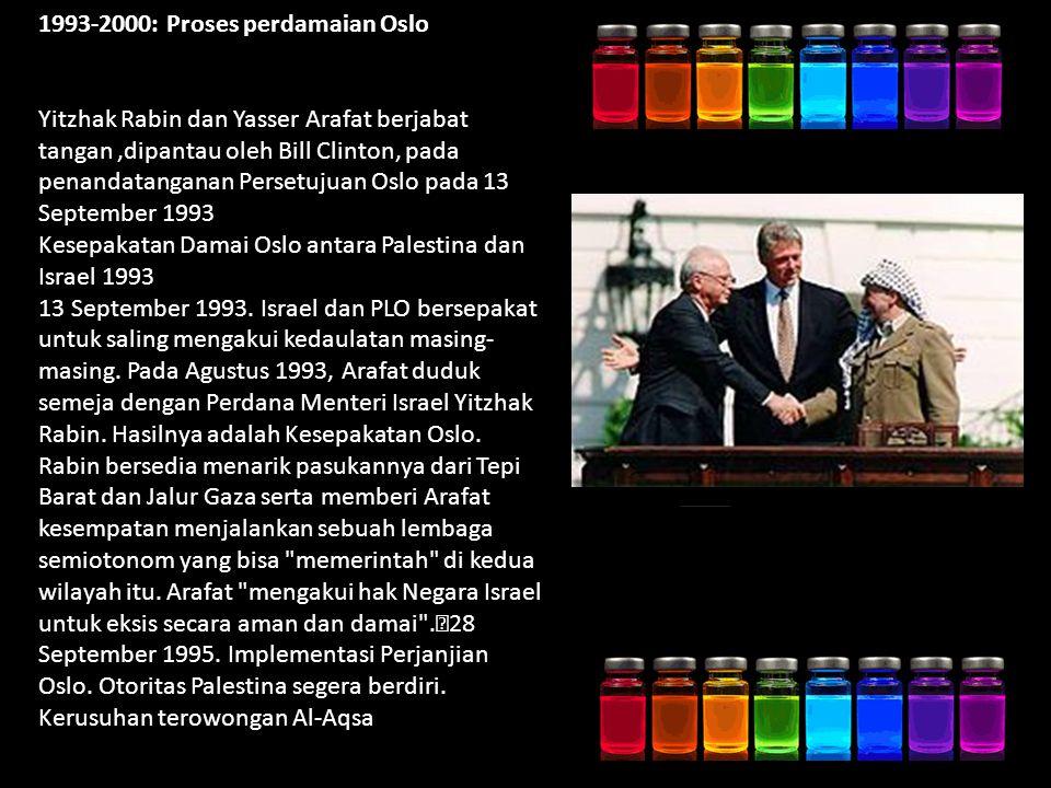 1993-2000: Proses perdamaian Oslo Yitzhak Rabin dan Yasser Arafat berjabat tangan,dipantau oleh Bill Clinton, pada penandatanganan Persetujuan Oslo pada 13 September 1993 Kesepakatan Damai Oslo antara Palestina dan Israel 1993 13 September 1993.