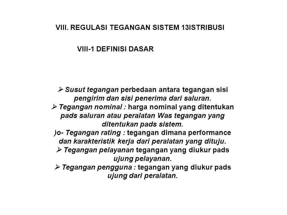 VIII. REGULASI TEGANGAN SISTEM 13ISTRIBUSI VIII-1 DEFINISI DASAR  Susut tegangan perbedaan antara tegangan sisi pengirim dan sisi penerima dari salur