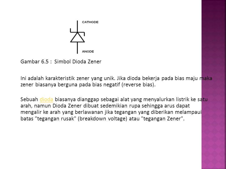 Gambar 6.5 : Simbol Dioda Zener Ini adalah karakteristik zener yang unik. Jika dioda bekerja pada bias maju maka zener biasanya berguna pada bias nega
