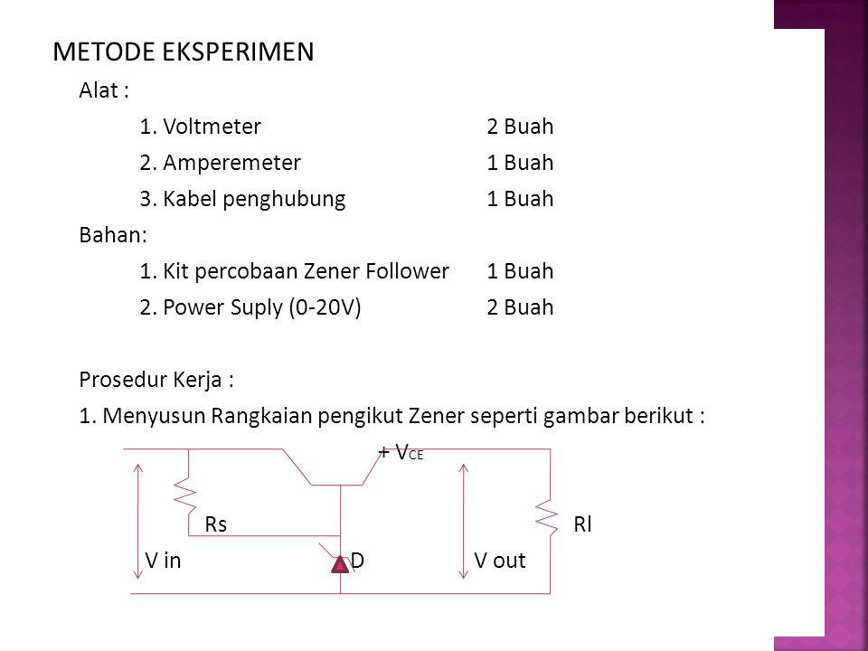 METODE EKSPERIMEN Alat : 1. Voltmeter2 Buah 2. Amperemeter1 Buah 3. Kabel penghubung1 Buah Bahan: 1. Kit percobaan Zener Follower1 Buah 2. Power Suply