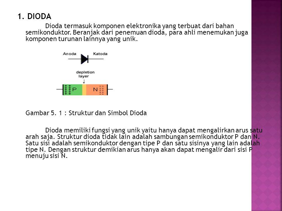 1. DIODA Dioda termasuk komponen elektronika yang terbuat dari bahan semikonduktor. Beranjak dari penemuan dioda, para ahli menemukan juga komponen tu